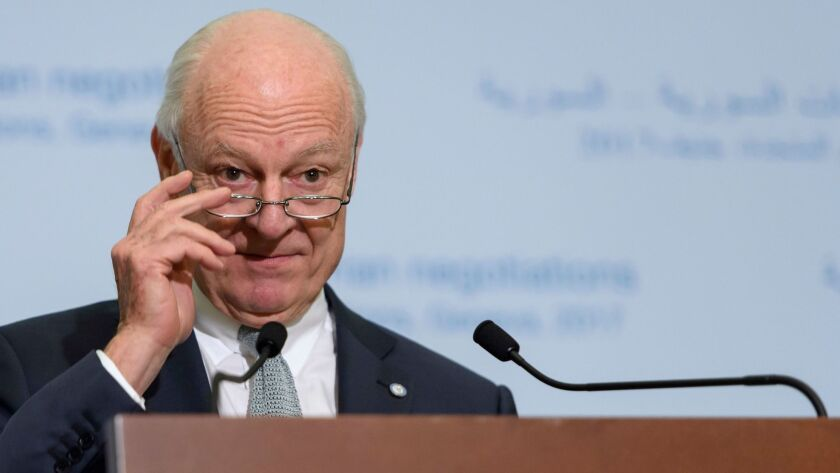 The U.N. special envoy for Syria, Staffan de Mistura, addresses reporters in Geneva, where a new round of Syria peace talks is underway.