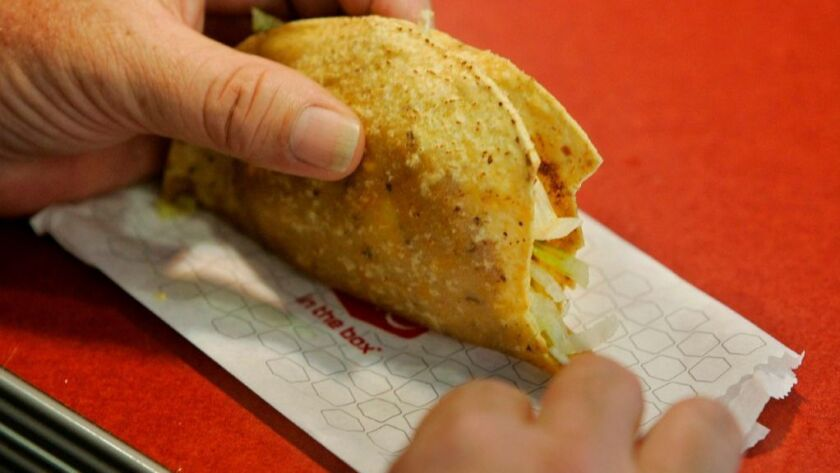 Taco served at the Jack in the Box on Hazard Center Drive in San Diego.