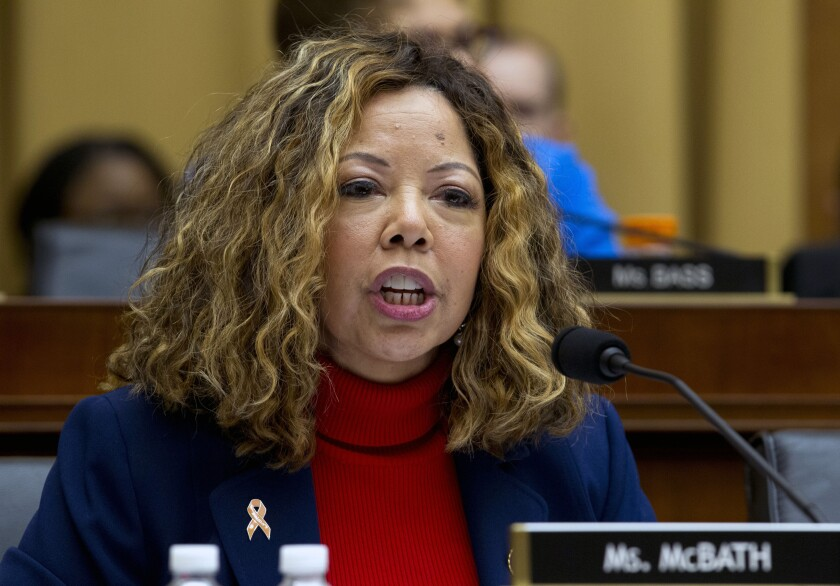 FILE - In this Wednesday, Feb. 6, 2019 file photo, Rep. Lucy McBath D-Ga., speaks during the House Judiciary Committee hearing on gun violence on Capitol Hill in Washington. Democratic congresswoman Lucy McBath says she won't run in either of Georgia's two U.S. Senate contests. McBath, who was being recruited by state and national party leaders, said Thursday, Sept. 19, 2019 that she would instead focus on winning a second House term. (AP Photo/Jose Luis Magana, File)