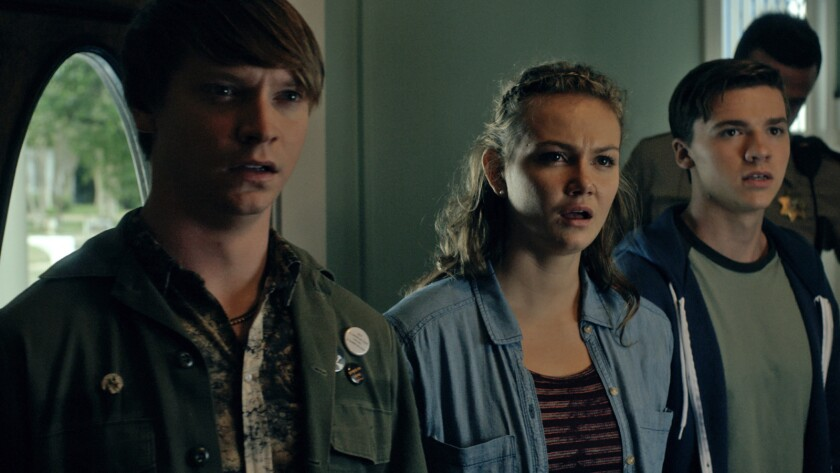 (L-R)- Calum Worthy as Randy Foster, Andi Matichak as Kayla Shepard, and Joel Courtney as Zach Hende