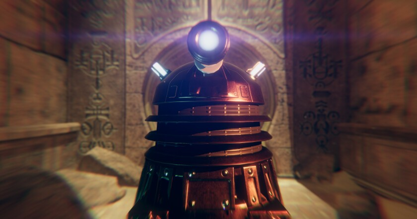 "The Dalek, the most iconic villain of the ""Doctor Who"" TV series, is one of the obstacles players face in the new PlayStack Virtual Realty game ""Doctor Who: The Edge of Time"
