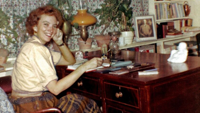 "Madeleine L'Engle in ""The Tower,"" her Crosswicks office where she did all her writing, circa 1959."