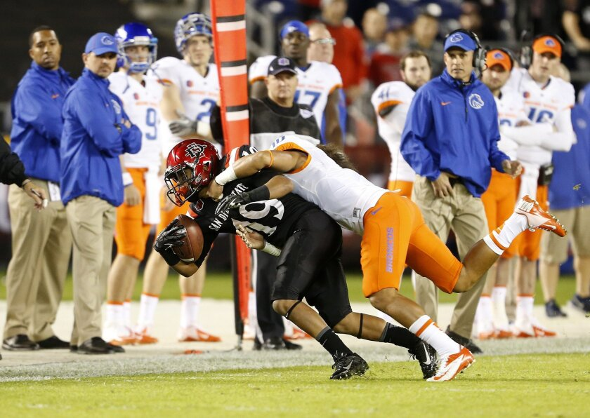 SDSU's Donnel Pumphrey gets tackled after picking up a first down.