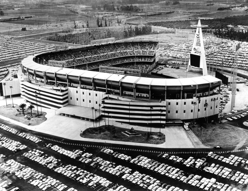 Anaheim Stadium on opening day for the California Angels in April 1966.