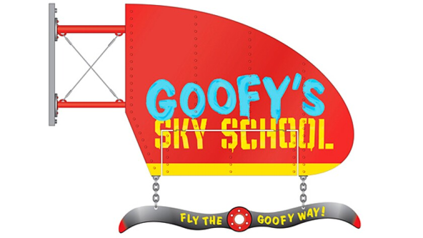 An artist's rendering of the marquee for Goofy's Sky School roller coaster at Disney California Adventure.