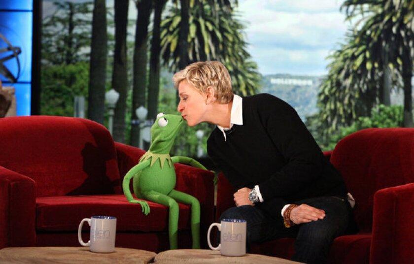 """Ellen DeGeneres with Kermit the Frog on """"The Ellen DeGeneres Show."""""""