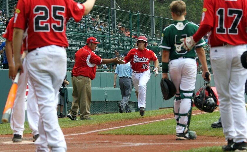 Mexico's Miguel Artalejo rounds the bases after a three-run home run in the fifth inning of the consolation game of the Little League World Series against Connecticut.