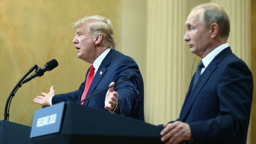 President Trump and Russian President Vladimir Putin in Helsinki, Finland, in July 2018