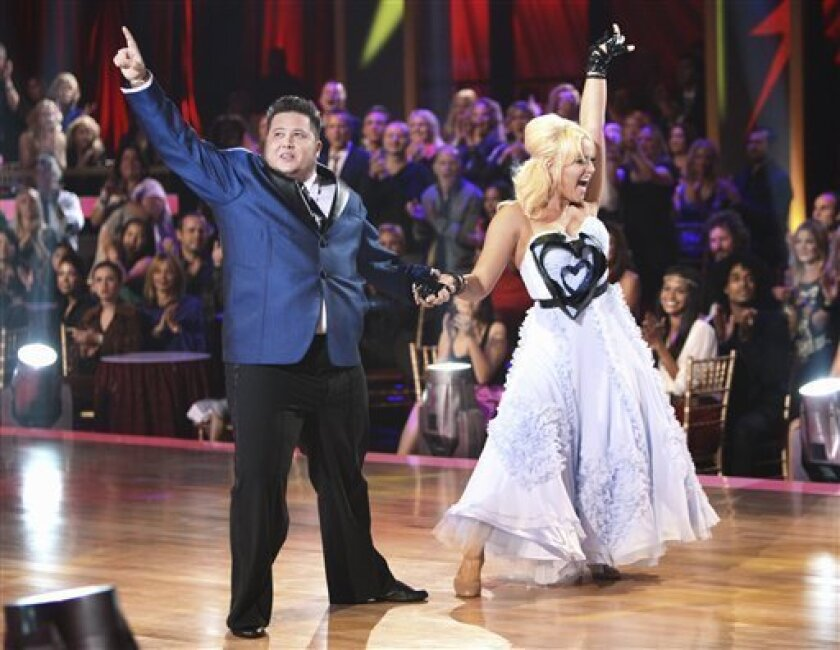 "In this image released by ABC, Chaz Bono, left, and his partner Lacey Schwimmer perform on the celebrity dance competition series, ""Dancing with the Stars,"" Monday, Sept. 26, 2011 in Los Angeles. (AP Photo/ABC, Adam Taylor)"