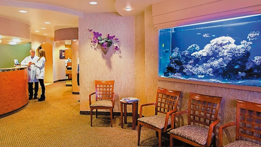 The reception area at La Jolla Dentistry, 1111 Torrey Pines Road, Suite 101, La Jolla. (858) 459-6224. joethedentist.com