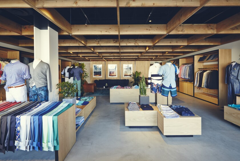 """A Bonobos """"guideshop"""" in La Brea. The brand's stores are for trying on clothing only, making them a possible model for socially distanced retail."""