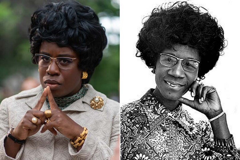 Uzo Aduba as Shirley Chisholm in 'Mrs. America,' left, and the real Shirley Chisholm in 1971.