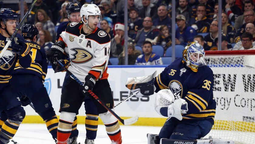 Buffalo Sabres goalie Linus Ullmark (35) stops Anaheim Ducks Adam Henrique (14) during the second pe