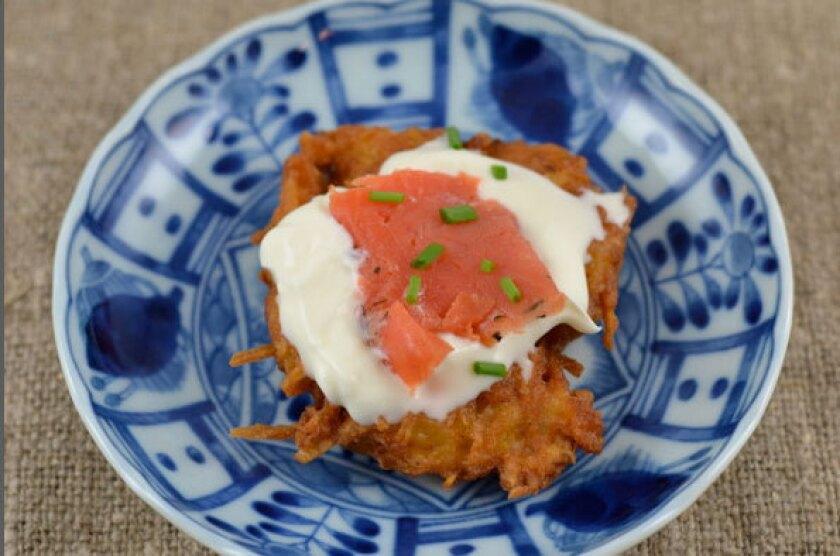 Potato latke with creme fraiche and gravlax.