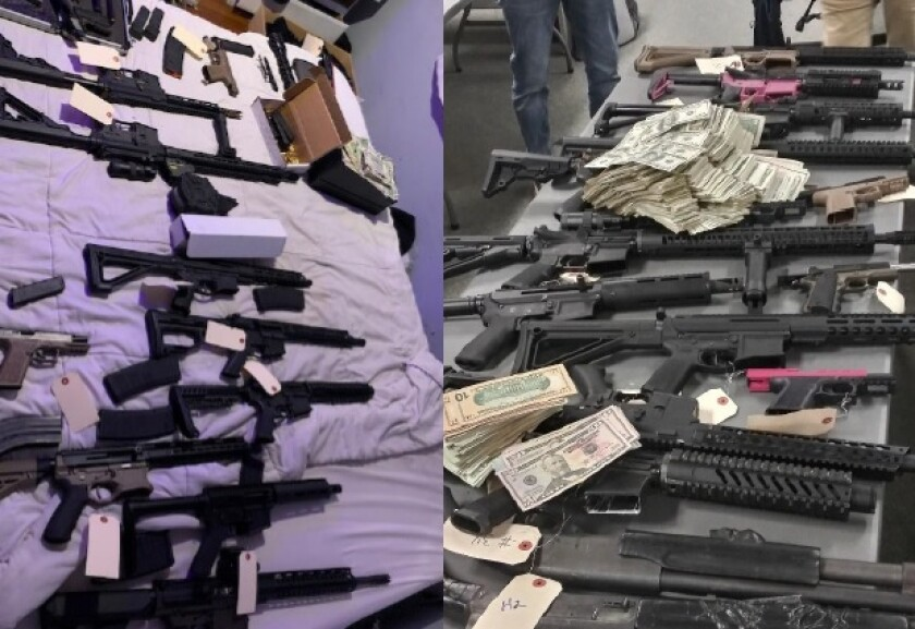 Guns and cash discovered Wednesday at a Normal Heights home.