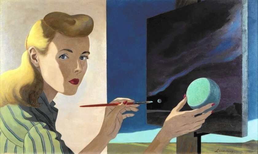 "Helen Lundeberg's ""Self-Portrait,"" 1944; oil on Masonite."