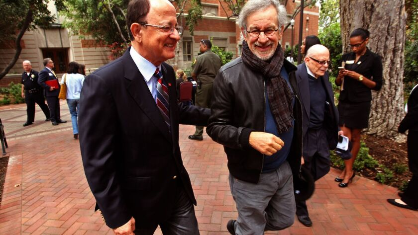 LOS ANGELES, CA - APRIL 25, 2014 -- Director Steven Spielberg, right, founder of the USC Shoah Found