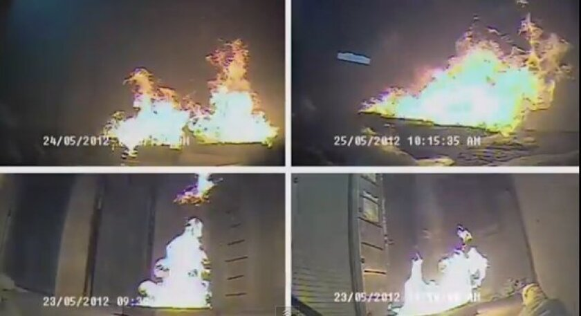 Researchers set fires in a five-story tower to see how smoke and flames would move in a building after it was damaged by a simulated earthquake.
