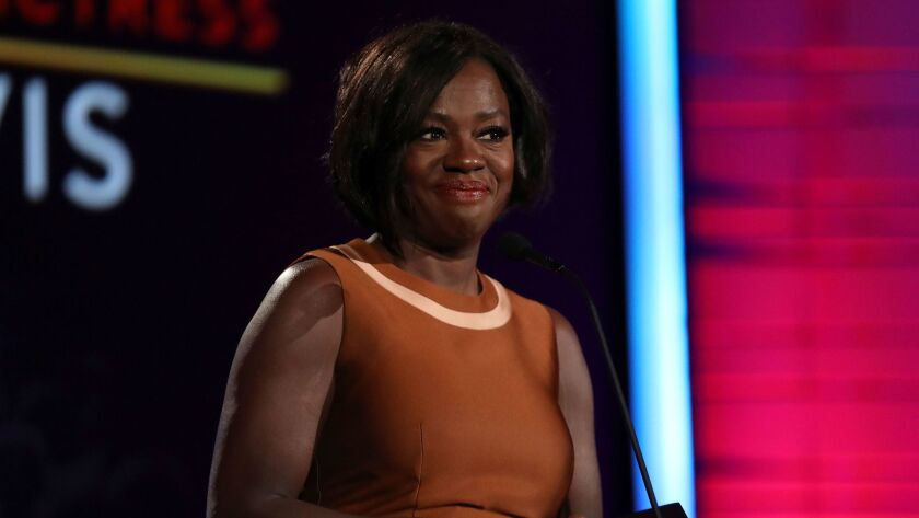 """Fences"" co-star and Academy Award nominee Viola Davis accepts the award for best supporting actress at AARP's 16th annual Movies for Grownups Awards at the Beverly Wilshire Hotel in Beverly Hills on Feb. 6."