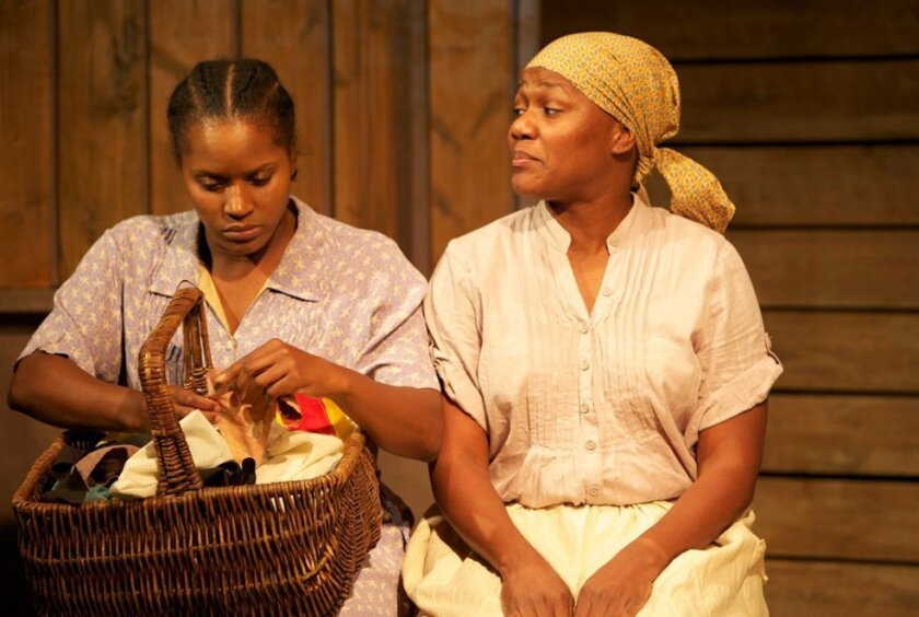 "Monique Gaffney and Charmen Jackson in North Coast Rep's ""Gee's Bend."""