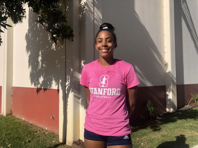Redondo Union volleyball star Kami Miner poses for a photo on campus.