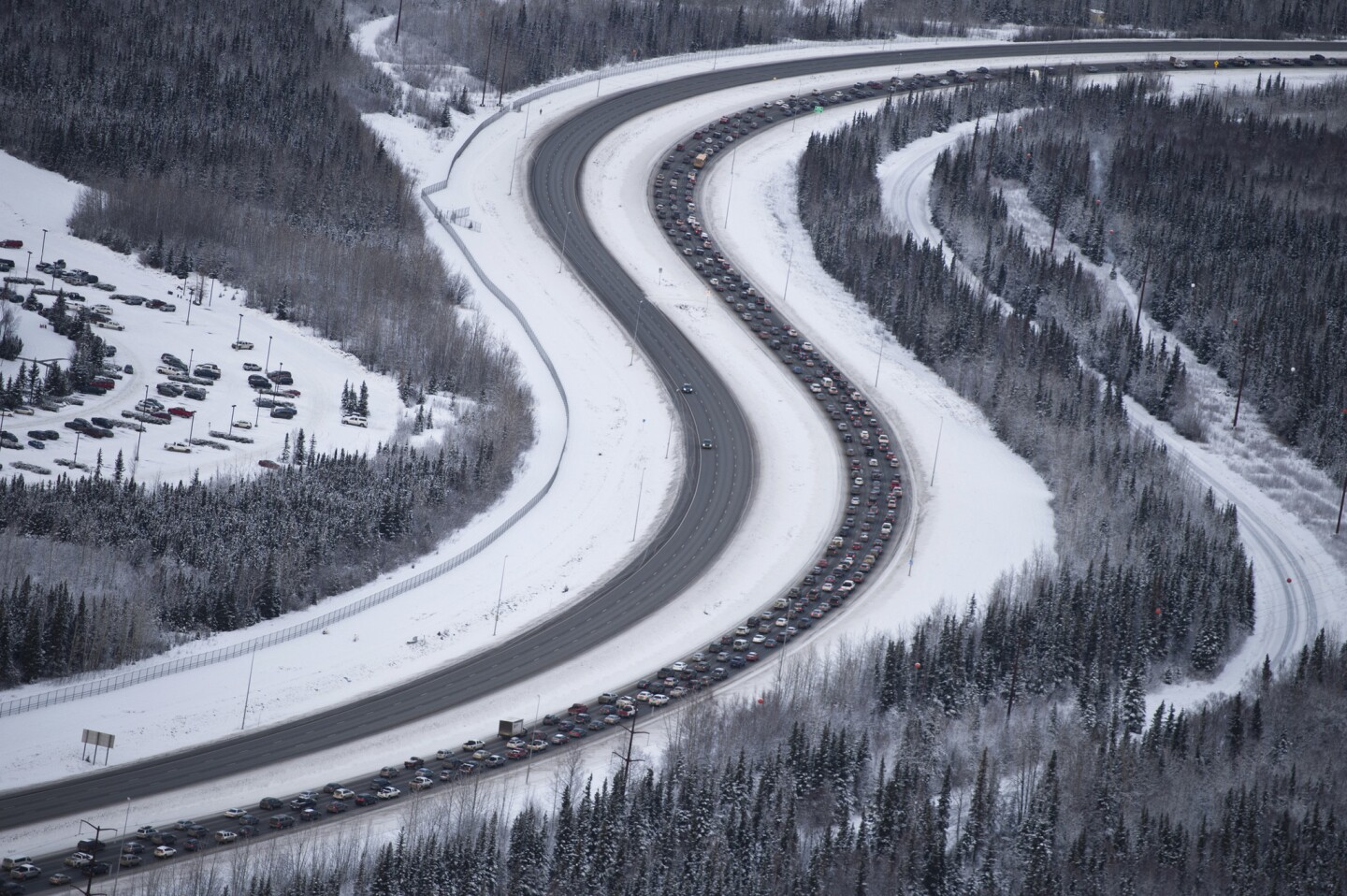 Traffic outbound from Anchorage on the Glenn Highway was at a standstill after a 7.0-magnitude earthquake caused damage in Anchorage, Alaska, on Nov. 30, 2018.
