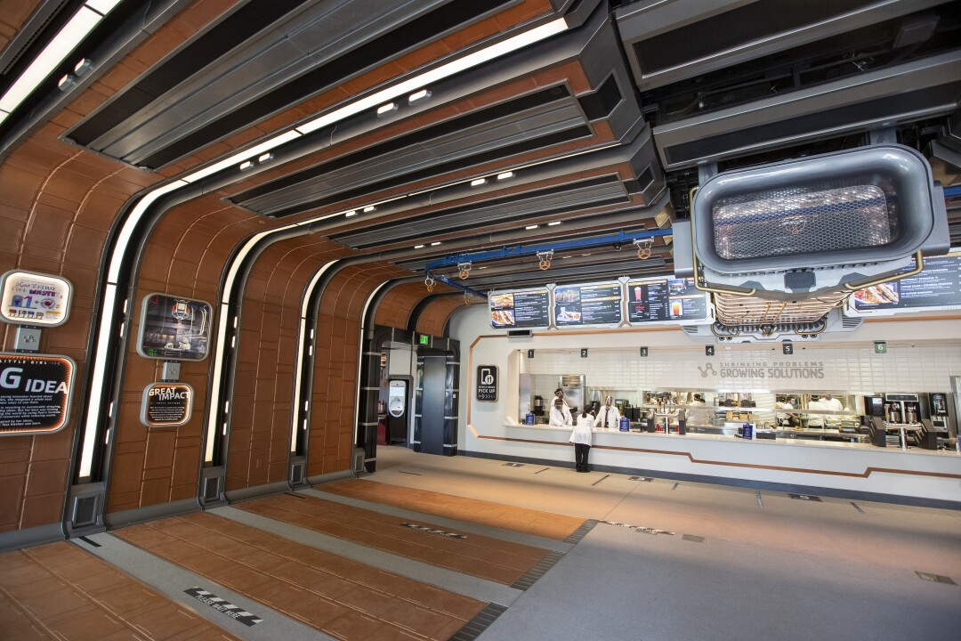 A view of the Pym Test Kitchen, an Ant-Man and Wasp-themed eatery serving meals, treats and shareable bites