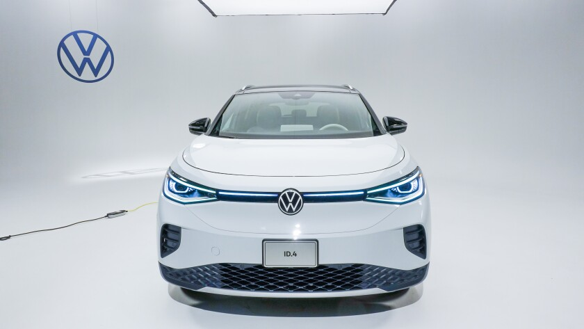 Volkswagen's ID.4 all-electric compact SUV shown from the front.