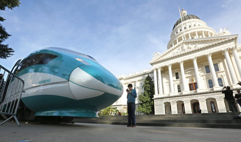 A full-scale mock-up of a high-speed train outside the state Capitol in Sacramento in 2015.