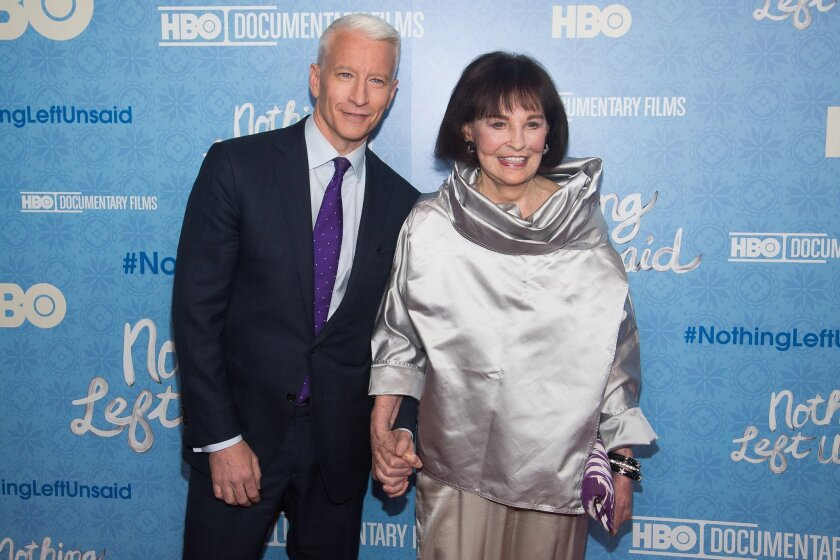 """Anderson Cooper and his mother Gloria Vanderbilt attend the premiere of """"Nothing Left Unsaid"""" at the Time Warner Center on Monday, April 4, 2016, in New York. (Photo by Charles Sykes/Invision/AP)"""
