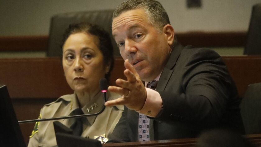 Sheriff Alex Villanueva speaks during a 2019 meeting of the Civilian Oversight Commission.