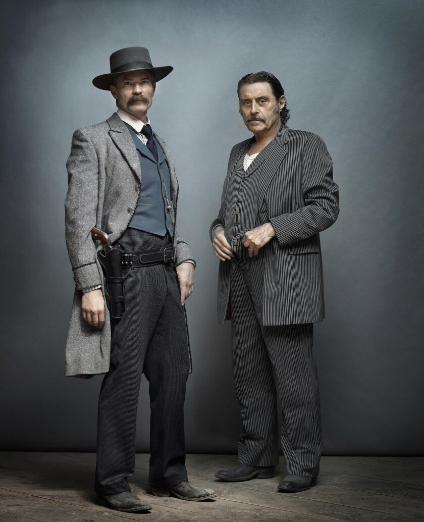 "(L-R)- A photograph of Timothy Olyphant and Ian McShane for HBO's film ""Deadwood."" Credit: James Min"