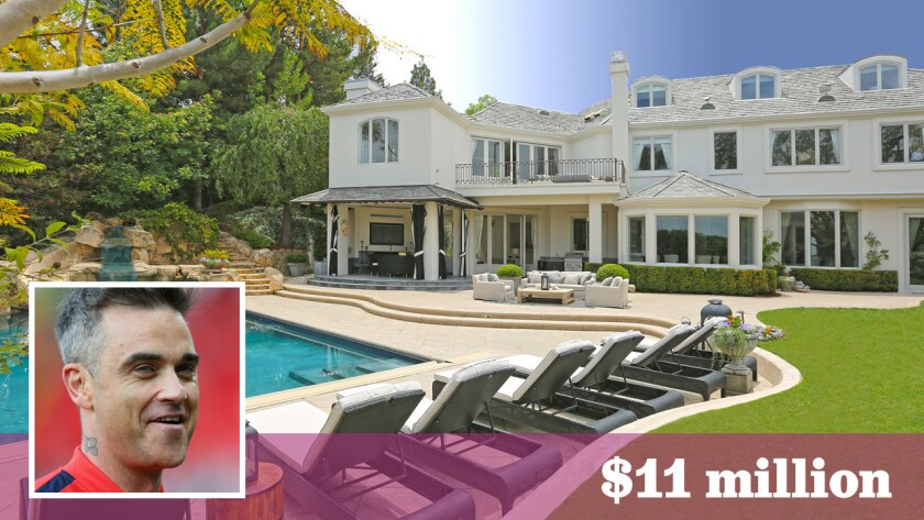 British pop star Robbie Williams has put his longtime home in the Mulholland Estates area up for sale at $11 million.