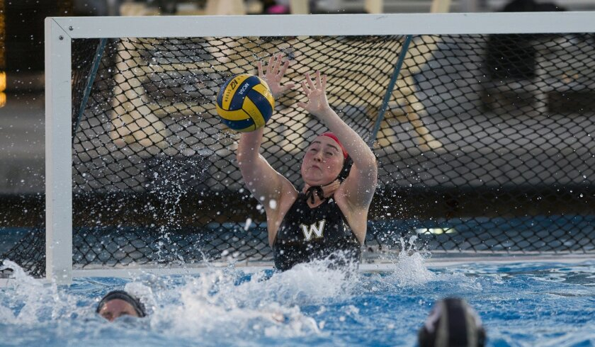 Westview's Julia McCabe blocks a shot early in Saturday's San Diego Open championship game against Bishop's.