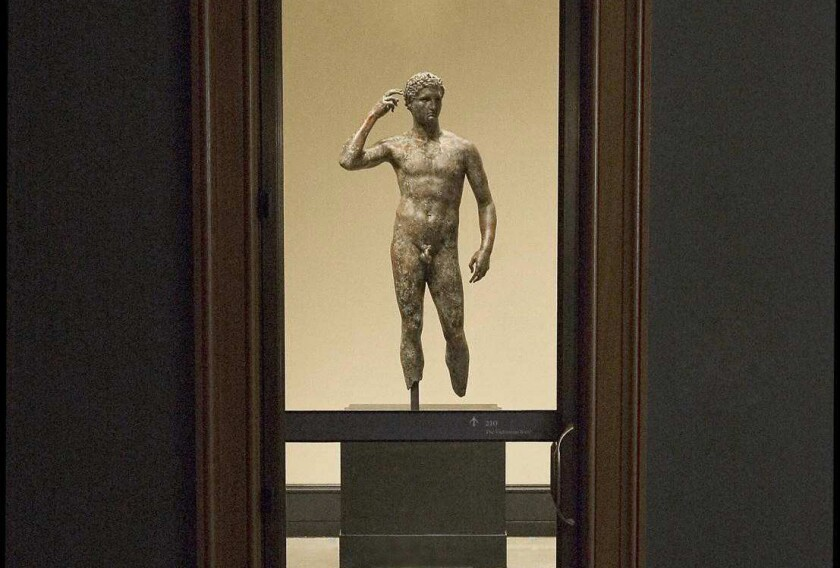 The 'Getty Bronze' on display at the Getty Villa in Pacific Palisades.
