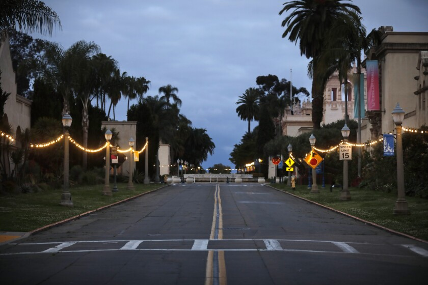 Although exterior walkways have reopened, Balboa Park's Central Mesa remains mostly closed to the public amid the COVID-19 pandemic.