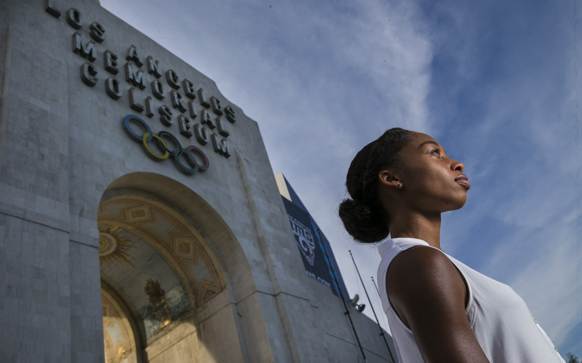 Allyson Felix, a graduate of USC, poses for a photo at the Coliseum.
