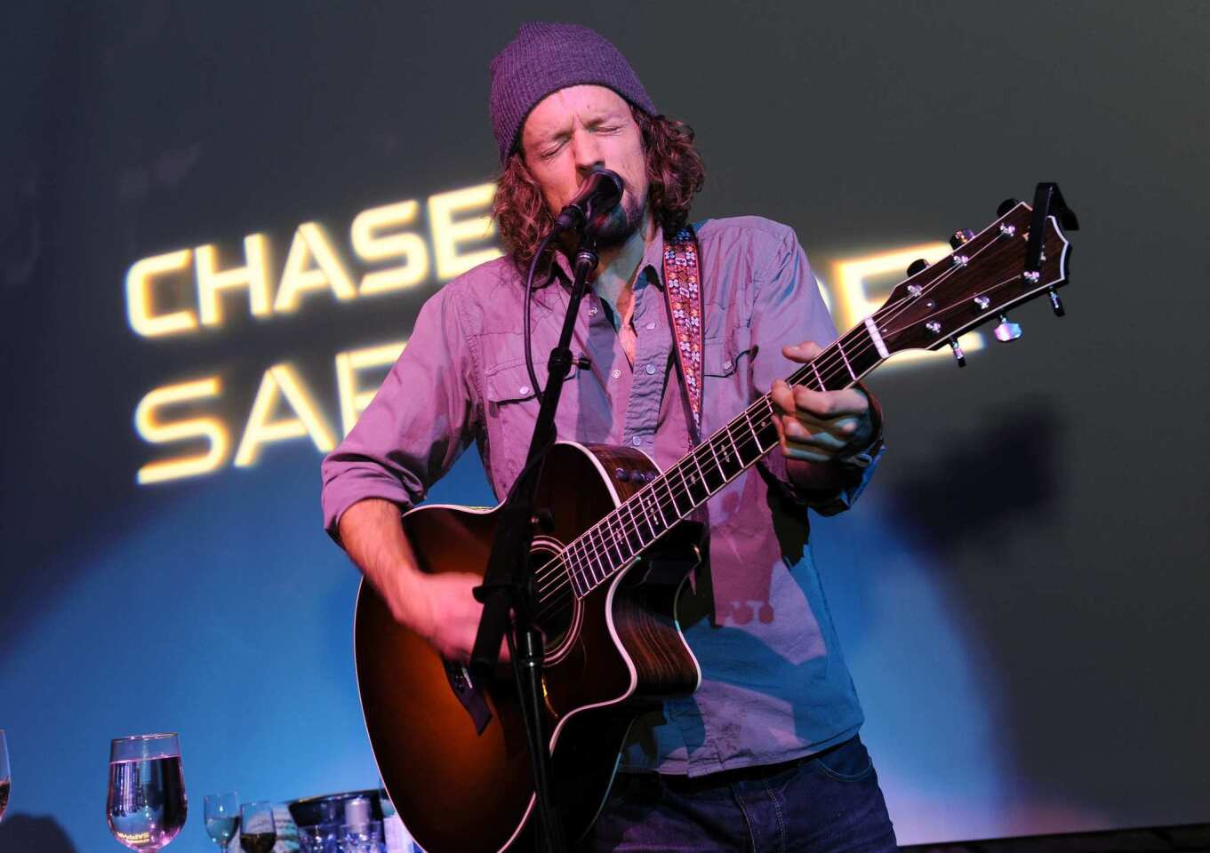 """Jason Mraz performs at the """"Liberal Arts"""" premiere party."""