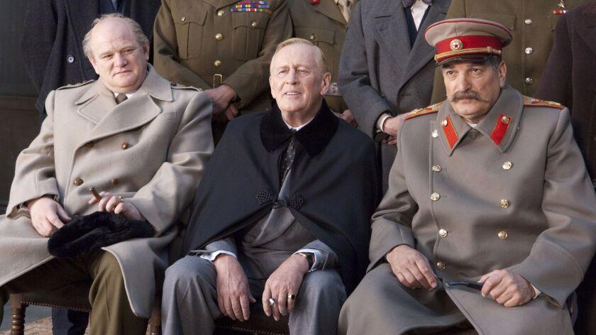 From left: Brendan Gleeson as Churchill, Len Cariou as Franklin Roosevelt and Alexy Petrenko as Jose