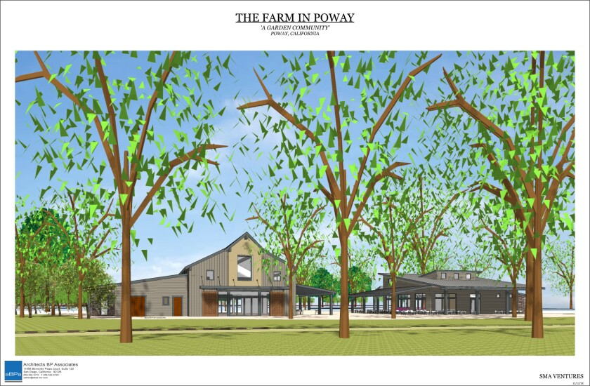 Architect's rendering of The Barn, a community meeting space.