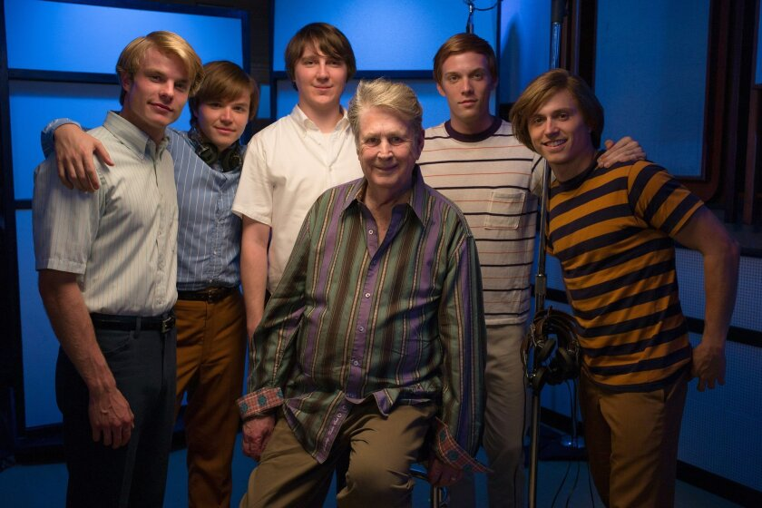 """The cast of """"Love and Mercy with Brian Wilson. From left: Graham Rogers, Brett Davern, Paul Dano, Brian Wilson, Jake Abel, Kenny Wormald. Photo by Francois Duhamel"""