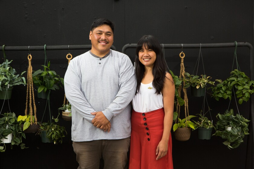 Leaf and Spine owner Dustin Bulaon, left, and Ernestine Segura.