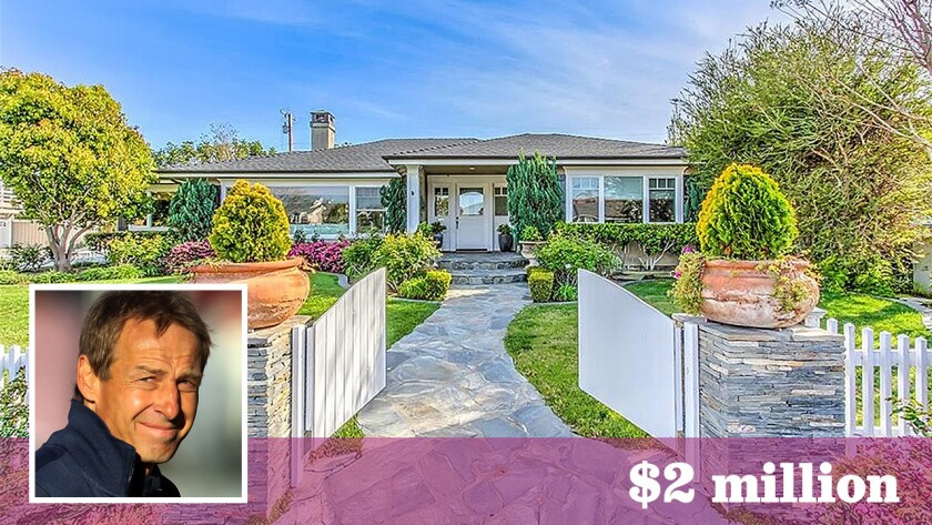 Juergen Klinsmann, head coach of the U.S. men's national soccer team, has sold his home in Newport Beach for $2 million.