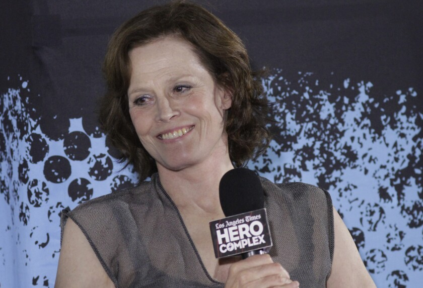 Sigourney Weaver participates in a Q&A session on the closing night of the Hero Complex Film Festival on June 1, 2014.
