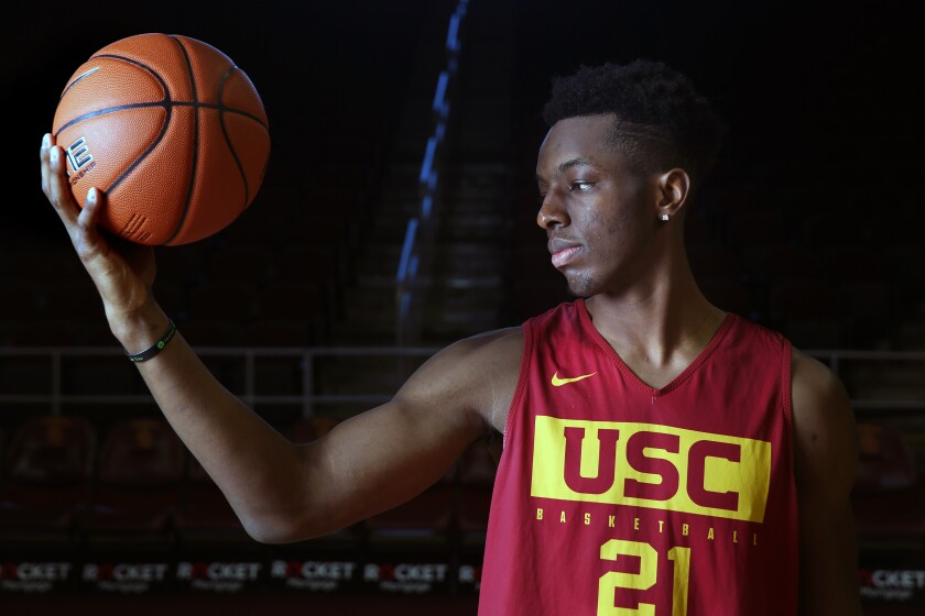 USC freshman forward Onyeka Okongwu wears a bracelet on his wrist in memory of his older brother Nnamdi, who died at 17 years old after a skateboarding accident in 2014.
