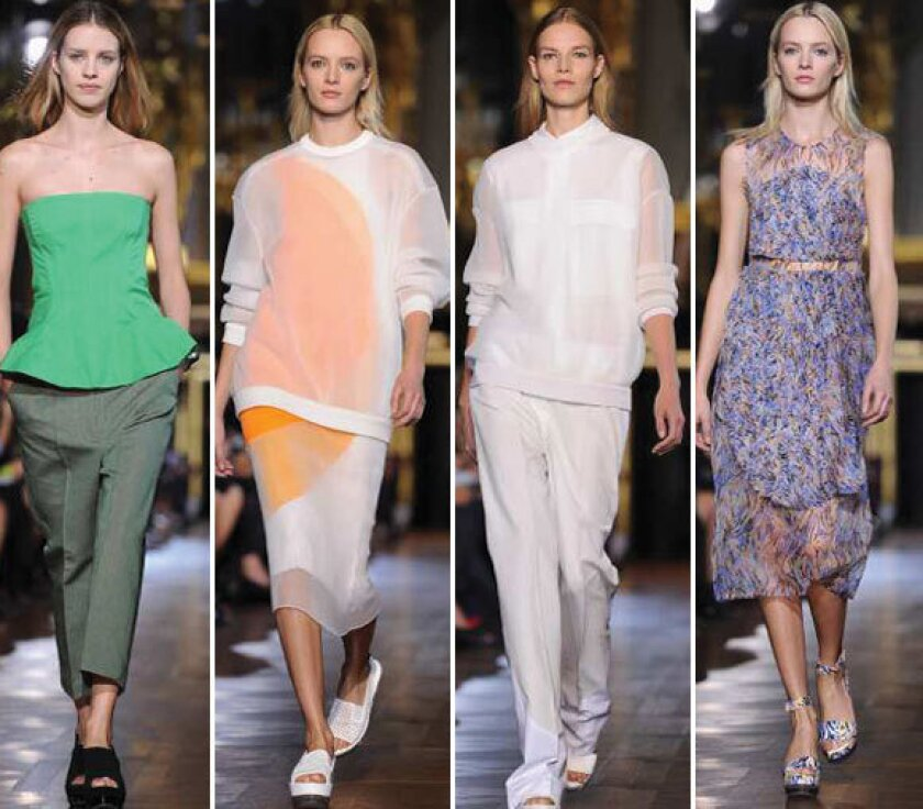 Looks from the Stella McCartney spring-summer 2013 collection shown during Paris Fashion Week.