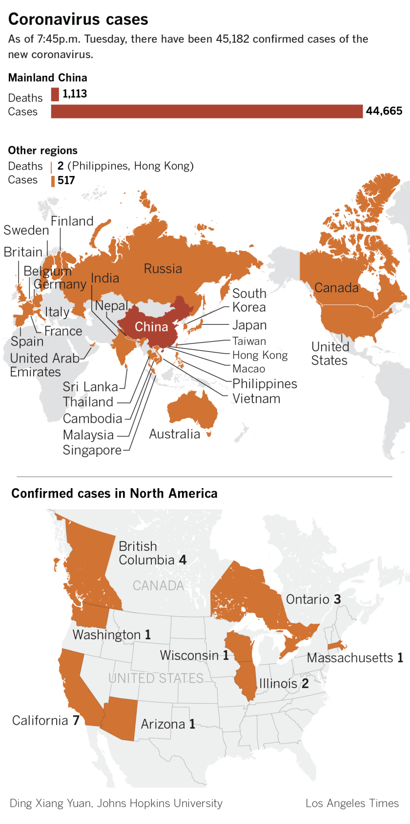 A map showing the spread of the coronavirus around the world