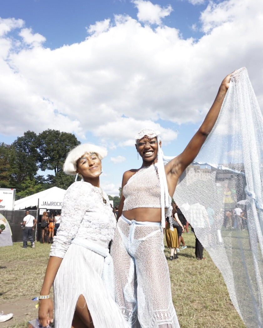 From left to right, Jewell Jones and Kiara Simmons, at Afropunk in Brooklyn, N.Y.