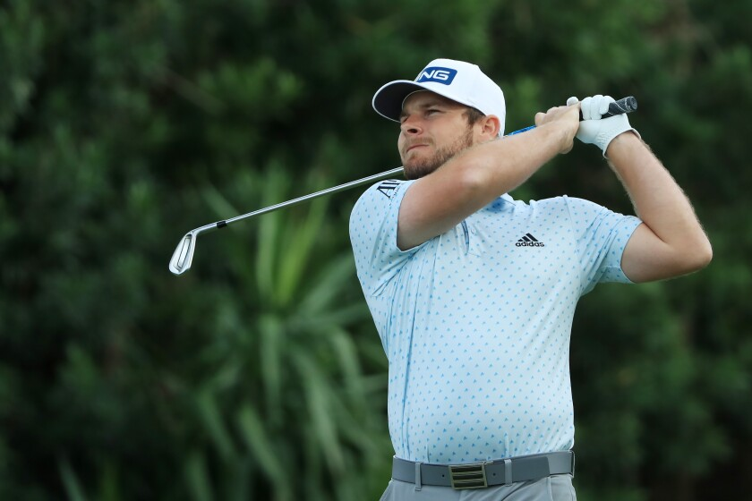 Tyrrell Hatton of England plays from the 17th tee during the final round of the Arnold Palmer Invitational on Sunday.