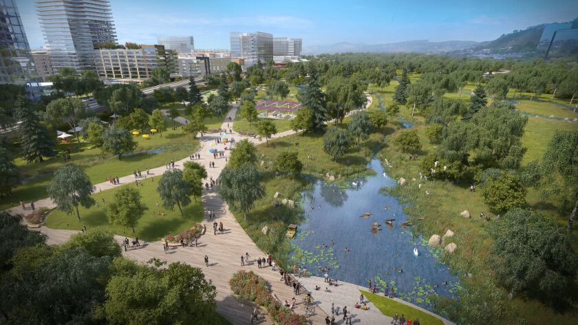 Soccer City would include up to 4,800 homes, more than 3 million  square feet of offices and retail, 55 acres of parks and nearly as many parking spaces as currently exist at the current Qualcomm Stadium site.Gensler